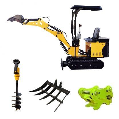 Minigrävare 800 kg med tillbehör som grävskopa, planerskopa, hydraulhammare, jordborr, snabbfäste mm